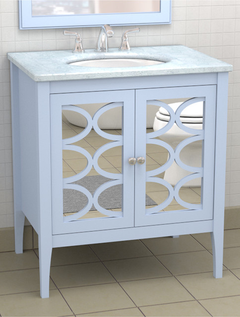 Vanity with mirrored doors traditional atlanta by the furniture guild for Furniture guild bathroom vanities