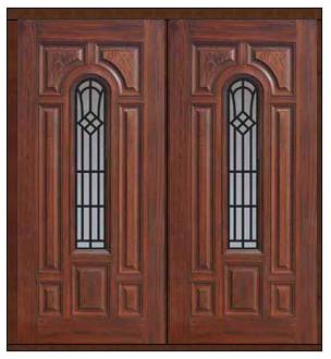 Prehung Double Door 80 Fiberglass Cantania Center Arch Lite traditional-front-doors