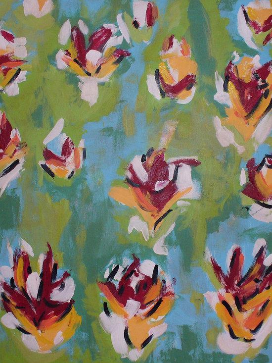 "Flower Garden (center panel) - Acrylic on canvas, 5' x 5'3"""
