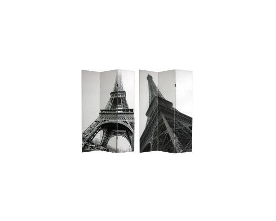 Functional Art/Photography Printed on a 6ft Folding Screen - 6ft tall 3 panel double sided photograph in black and white of the Eiffel Tower from different angles