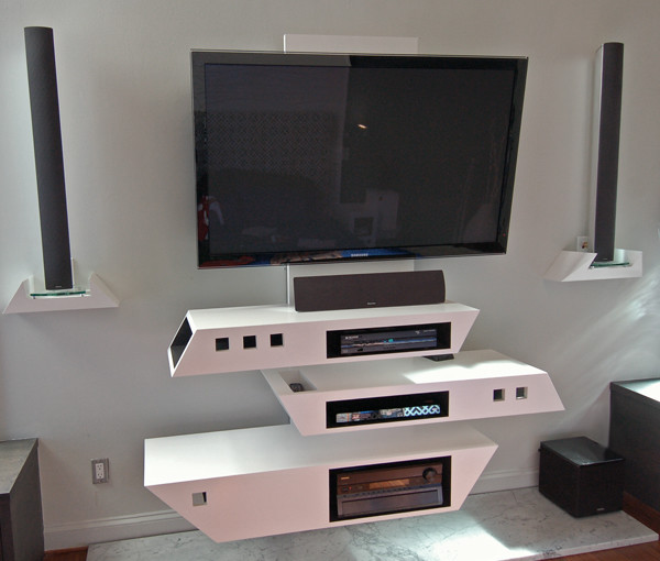 modern custom designed wall mounted tv console in melamine