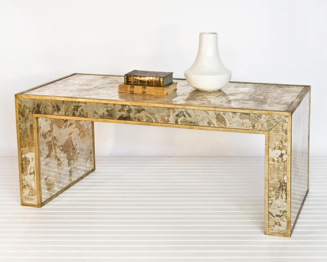 Worlds Away Reverse Mirror Coffee Table Gold Leaf eclectic coffee tables