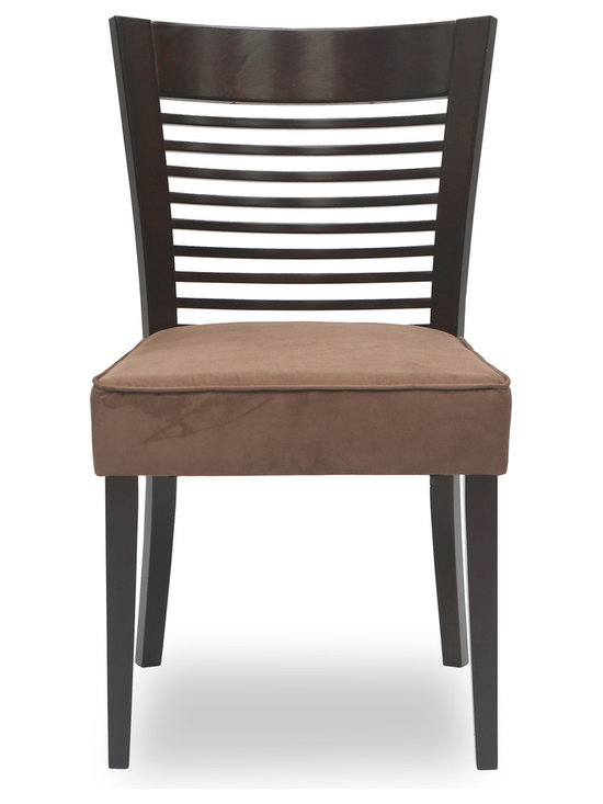 Bryght - Casey Brown Fabric Upholstered Light Cappuccino Dining Chair - The Casey dining chair boasts a sleek well balanced appearance with its thick seat and sturdy solid wood wide back. The backrest draws a focal point with its slim wood panels that run horizontally making the Casey dining chair a gorgeous addition to any modern household.