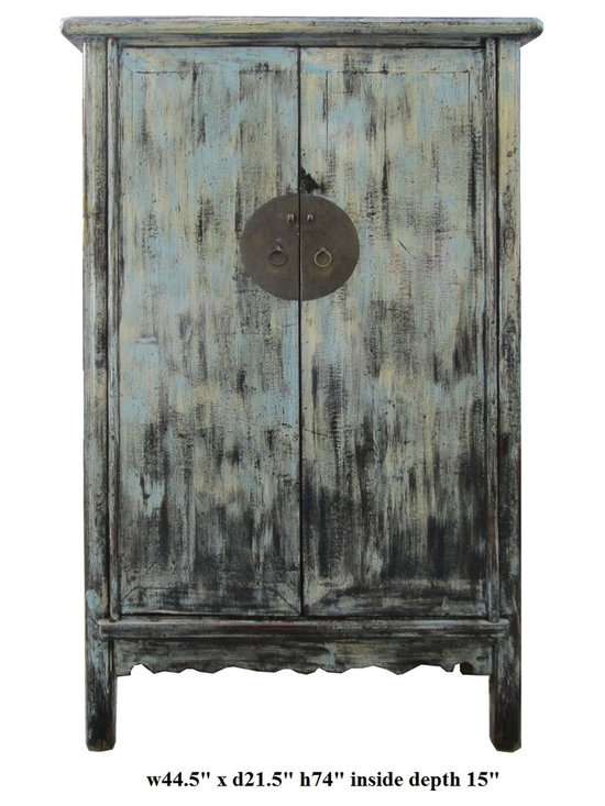 Chinese Rustic Blue Lacquer Color Armorie Storage Cabinet - This is a storage free standing cabinet with nice light blue mixed black rustic lacquer finish. It is an old cabinet restored. Its finish is not perfect, but it provides a vintage accent. The shelves can be removed, the cabinet can be used as a TV cabinet.