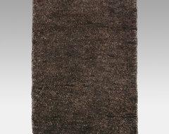 Hand Knotted Hemp Area Rug - Dark Chocolate Sheared contemporary-rugs
