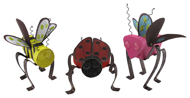 Butterfly, Bee, and Ladybug Wooden Garden Figurines contemporary-garden-sculptures
