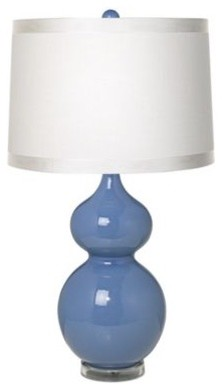 White Drum Shade, Double Gourd, Slate Blue Ceramic Table Lamp contemporary-table-lamps
