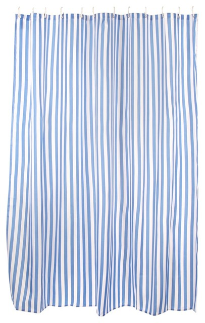 Blue Striped Coastal Shower Curtain Traditional