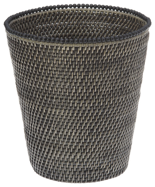 Round rattan waste basket with beads antique black contemporary baskets other metro by - Rattan waste basket ...