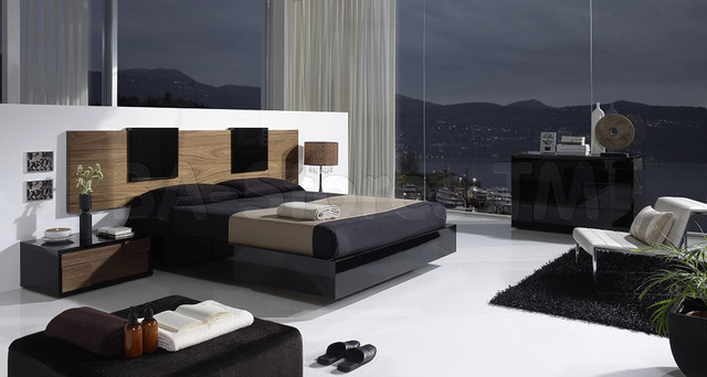 Contemporary Bedroom Set London Black By Acme Furniture: Eslida Gallery Black/Walnut 4 PC Bedroom Set