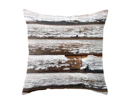 """BACK to BASICS - Snow on Wood Pillow Cover, 20x20 - Throw Pillow Cover made from 100% spun polyester poplin fabric, a stylish statement that will liven up any room. Individually cut and sewn by hand, the pillow cover measures 16"""" x 16"""", 18"""" x 18"""" or 20"""" x 20"""" depending on the size you choose, features a double-sided print and is finished with a concealed zipper for ease of care."""