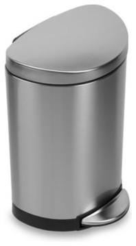 simplehuman Fingerprint-Proof Mini Semi-Round Step Can contemporary-trash-cans