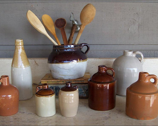 Country Crocks, Jugs, Bottle - A Collection of Eight Hand Made and Production Pottery Crocks, Jugs, and Sorghum Bottle.  Great as Rustic Country Decor.