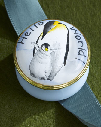 Halcyon Days Enamels Hello World! Mother & Chick Penguin Box traditional-storage-bins-and-boxes