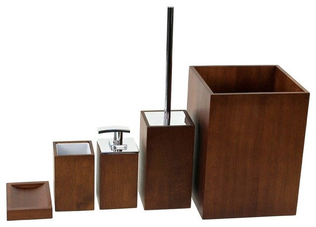 Wooden 5 piece brown bathroom accessory set for Brown bath accessories