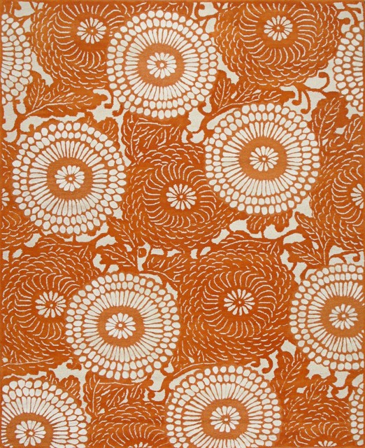 Rugsville Kelly Bloom Orange Modern Rug 11841, 5x8