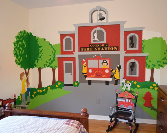 Fire Station Themed Room - Perfect wall decor for your little Fireman-to-be. It features two kids and a dog pointing at the big red firetruck as it pulls out of the fire station. it comes complete with a dalmatian looking on and firemen sliding down the fire pole. This easy Paint-by-Number wall mural is definitely a project you will be proud of.