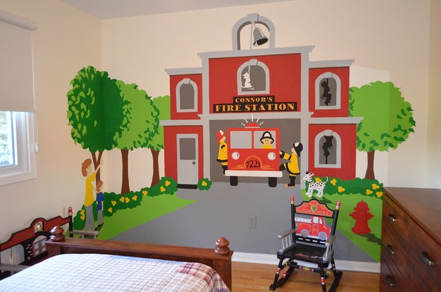 Fire Station Themed Room Traditional Kids Wall Decor Los Angeles By E