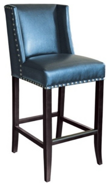 wing back bar stool in blue leather with silver nail head