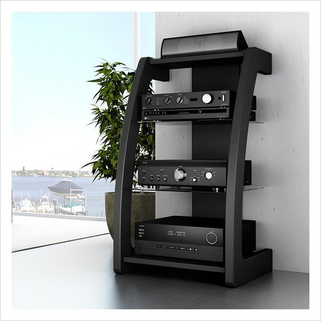 Sonax Milan Black Three Shelf Component Stand - Contemporary - Entertainment Centers And Tv ...