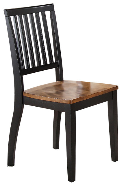 Steve Silver Candice Side Chair in Oak and Black (Set of 2) contemporary-dining-chairs