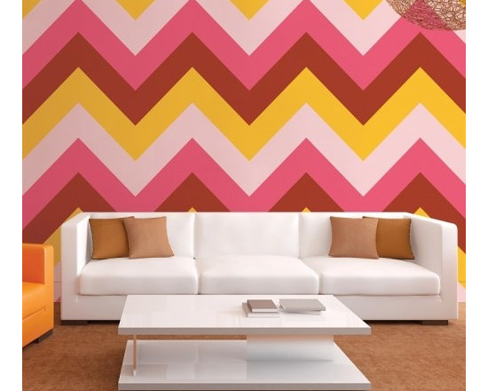 Chevon Cosmo Removable Wallpaper - Here's a cocktail that will leave your walls feeling no pain. Simply peel and stick a freshly stirred kit of Chevron Cosmo removable wallpaper and take in the classically cool transformation. Remove later without damaging your paint.