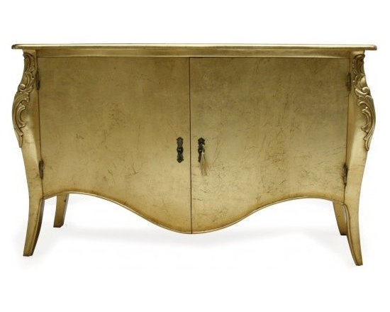 Chichi Furniture Exclusives. - A stylish contemporary French style sideboard finished in gold leaf and hand applied antique glazing. Featuring simple curvaceous lines, this piece oozes classic style.