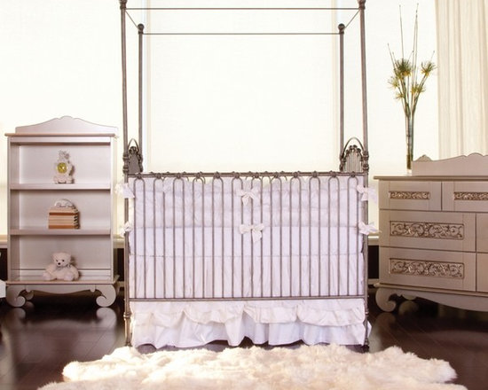 Venetian Crib in Pewter by Bratt Decor, Cribs, Furniture for Girls - The Venetian Cast Iron crib is timeless. This gorgeous crib comes with four posters and cross bars, which allows you to have different looks. Love this!