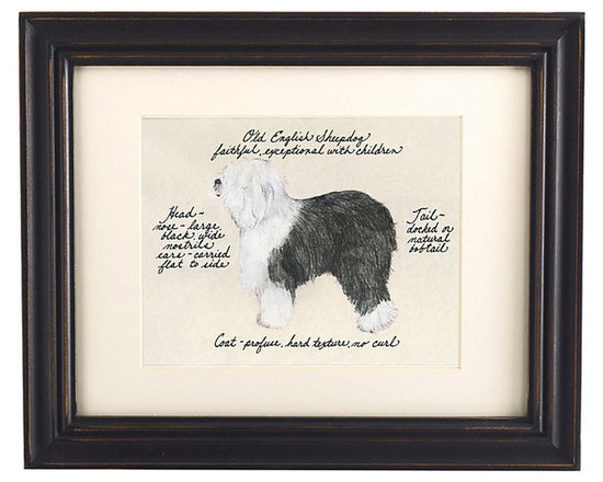 Ballard Designs - Old English Sheepdog Print - Hand colored & signed. Printed on parchment. Eggshell mat. Antique black frame. Our Old English Sheepdog Print was created by the dog-loving, husband and wife team of Vivienne and Sponge. The Old English Sheepdog is known for being faithful and exceptional with children. Each Old English Sheepdog portrait is hand colored and embellished with notes on the breed's special characteristics. Printed on antiqued parchment, signed by the artists and framed in antique black wood with eggshell mat and glass front. Old Engliah Sheepdog Print features: . . . . *Please note that personalized items are non-returnable.