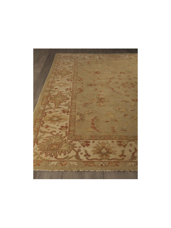 "Horchow - ""Fern Gables"" Rug - As enticing as a fragrant meadow, this rug features an oversized stylized floral motif border and a traditional floral motif center. Hand-knotted wool pile with fringe. Sizes are approximate. Imported. See our Rug Guide for tips on how to measur..."