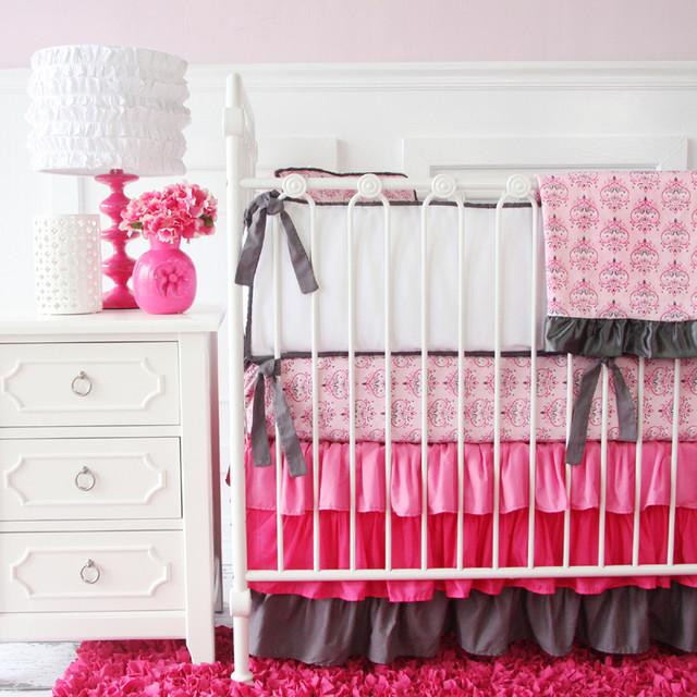Pink amp Gray Damask Ruffle Crib Bedding Set  Modern  Baby Bedding