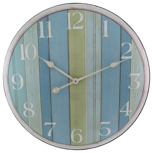 23 in blue striped wooden nautical wall clock for Seashell wall clock