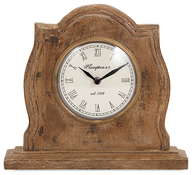 Stylish And Simple Style Brown Sammi Wood Clock Home Accent Decor Rustic Desk And Mantel Clocks