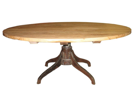 """Noir 72"""" Industry Dining Table - 72"""" Industry Dining Table with Old Elm wood in Metal and natural finish by Noir Furniture."""