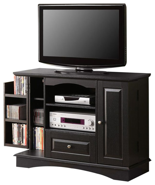 Walker Edison 42 Inch Bedroom TV Console with Media Storage in Black contemporary-media-storage