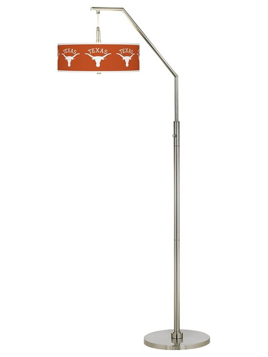 "Collegiate Art Shades - Kids University of Texas Brushed Nickel Arc Floor Lamp - Root on the Texas Longhorns with this college lighting design. Whether you're a student alumni or fan this arc floor lamp showcasing the University of Texas®  logo makes a handsome statement about your school or team spirit. The design comes in a sleek brushed nickel finish and features a plastic diffuser within the shade to prevent glare. U.S. Patent # 7347593.  Officially licensed college product.   University of Texas logo.   Brushed nickel finish.   Diffuser in shade.   Takes two maximum 100 watt or equivalent bulbs (not included).   On/off switch.   71 1/2"" high.   Shade is 16"" wide 5 1/2"" high.   May only be shipped to the 50 United States and U.S. territories possessions or military bases."