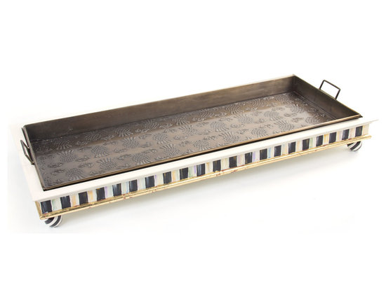 Courtly Stripe Boot Tray | MacKenzie-Childs - Park our boot tray inside your back or front door and you won't even mind mud season. Galvanized steel tray with our signature thistle motif in an antique brass finish, inset into a wooden frame, hand-painted in Courtly Stripe, and accented with gold leaf. Rests upon four black and white swirl ceramic ball feet.