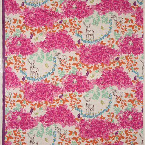echino canvas fabric stag woodland pink from Japan fabric