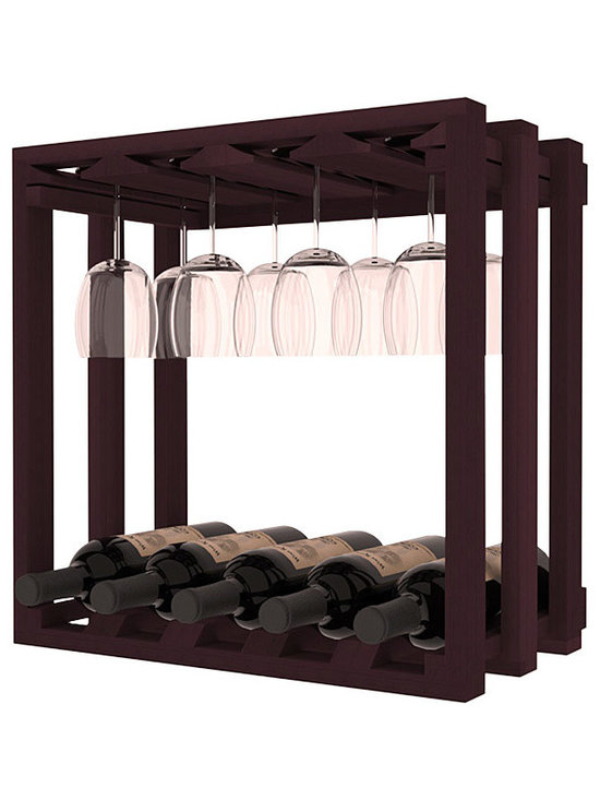 Wine Storage Lattice Stemware Cube in Redwood with Burgundy Stain - Designed to stack one on top of the other for space-saving wine storage our stacking cubes are ideal for an expanding collection. Use as a stand alone rack in your kitchen or living space or pair with the 20 Bottle X-Cube Wine Rack and/or the 16-Bottle Cubicle Rack for flexible storage.