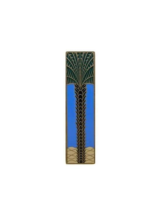 """Inviting Home - Vertical Royal Palm Pull (antique brass-periwinkle) - Hand-cast Vertical Royal Palm Pull in antique brass-periwinkle finish; 1""""W x 4""""H; Product Specification: Made in the USA. Fine-art foundry hand-pours and hand finished hardware knobs and pulls using Old World methods. Lifetime guaranteed against flaws in craftsmanship. Exceptional clarity of details and depth of relief. All knobs and pulls are hand cast from solid fine pewter or solid bronze. The term antique refers to special methods of treating metal so there is contrast between relief and recessed areas. Knobs and Pulls are lacquered to protect the finish."""