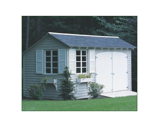 8' x 15' Tool Shed - Spacious 8' wide double door with ramp for easy entrance for garden equipment. Wood louvered shutters and two window boxes with decorative support brackets. Clapboard siding on all four sides with special body color and white trim.