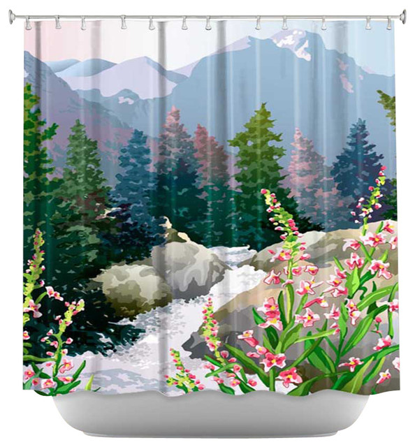 Shower Curtain Artistic - Mountain Stream contemporary-shower-curtains
