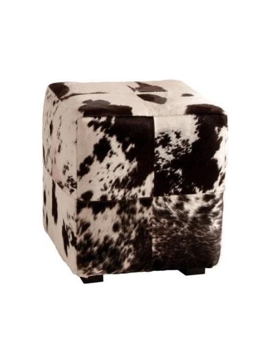 Hugo Leather Patchwork Ottoman -
