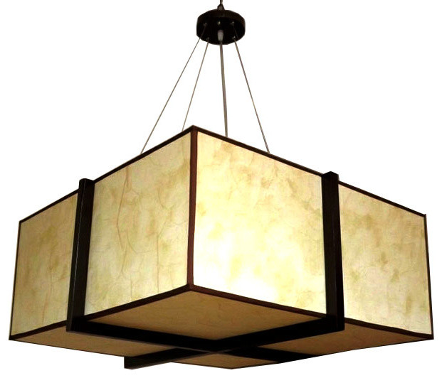 Modern Oblong Parchment Shade and Wood Frame Pendant Lighting contemporary-pendant-lighting
