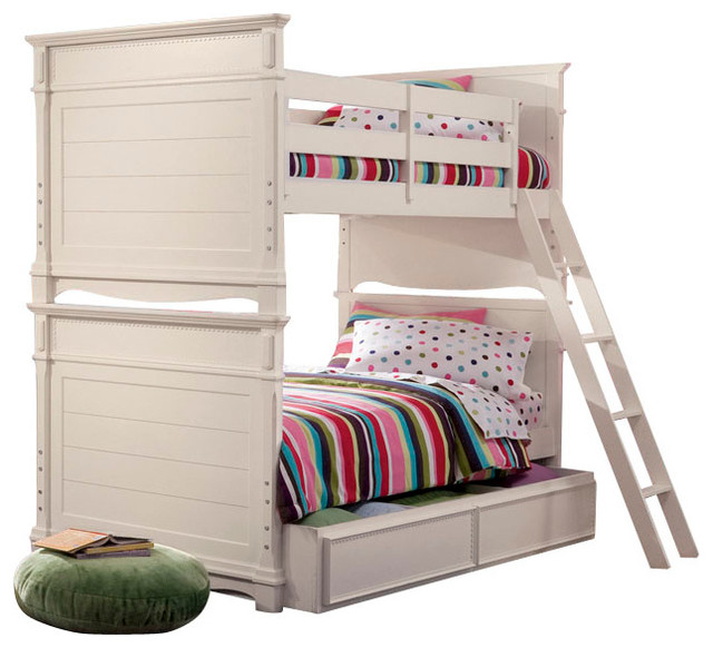 Lea Hannah 5-Piece Bunk Bed Kids' Bedroom Set in White traditional-baby-and-kids