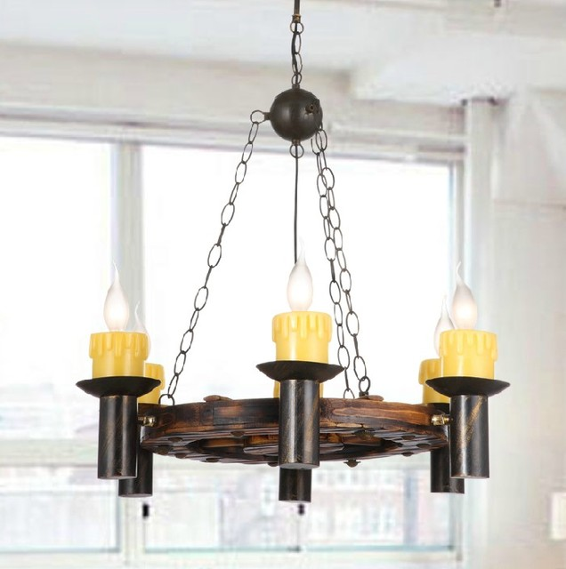 Modern Chandeliers Nyc: Antique Wood And Iron And Marble Shades Chandelier
