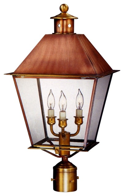 Carolina colonial post mount copper lantern by lanternland for Outdoor colonial lighting