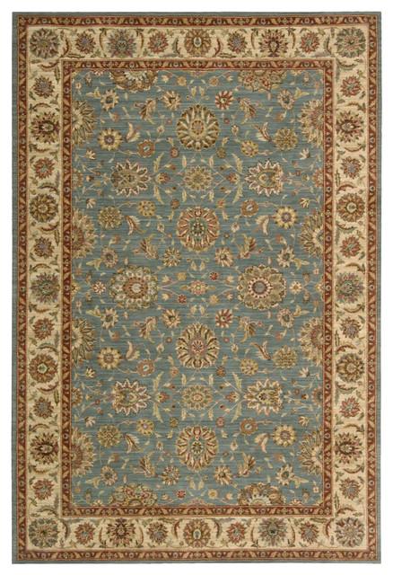 """Living Treasures LI05 1'9"""" x 2'9"""" Aqua Rug traditional-rugs"""