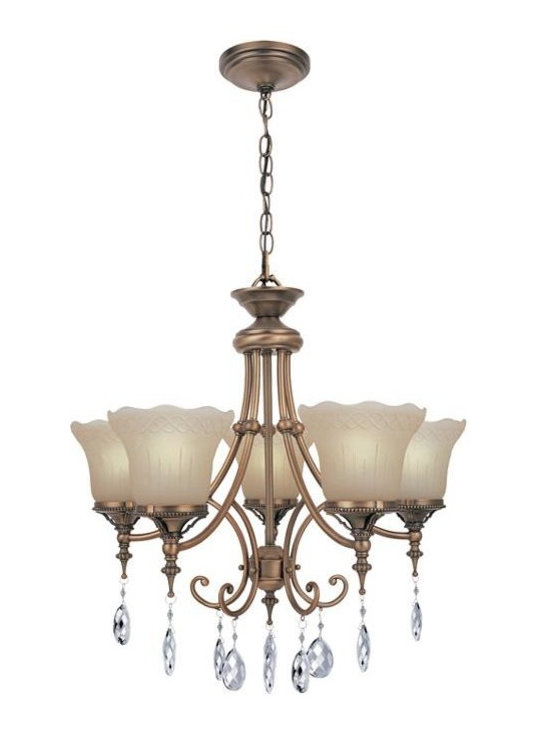 Joshua Marshal - Brushed Copper Five Light Up Lighting Chandelier With Amber Glass - Finish: Brushed Copper