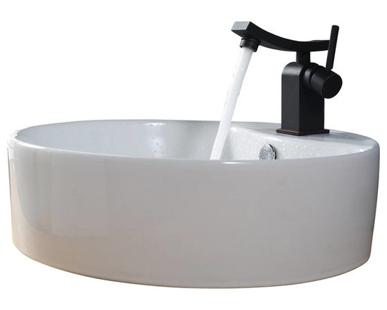 Kraus - Kraus C-KCV-142-14301BN White Round Ceramic Sink and Unicus Basin Faucet - Add a touch of elegance to your bathroom with a ceramic sink combo from Kraus